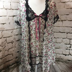 In Bloom by Jonquil Floral Teddy & Robe Set